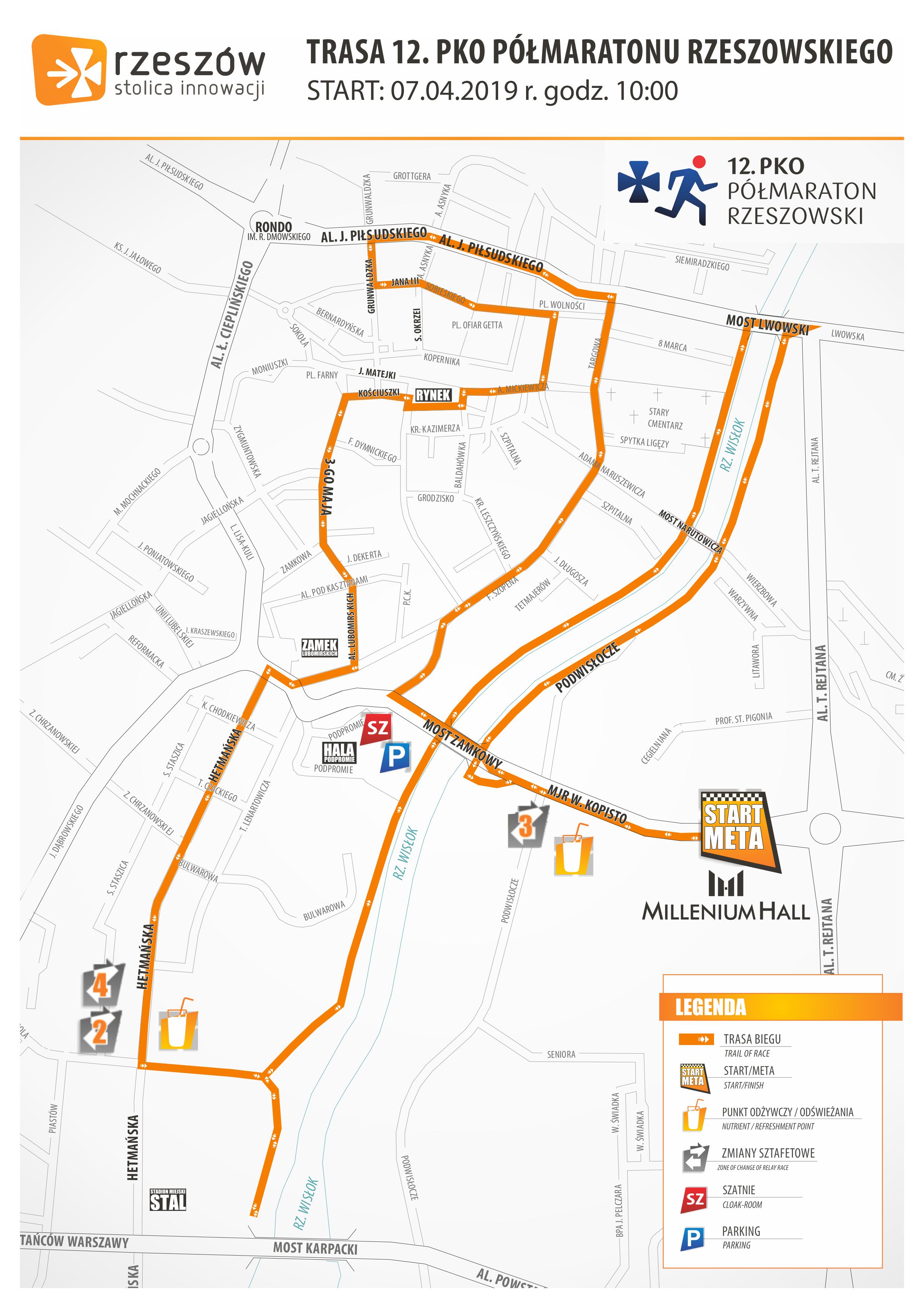 trasa 12 półmaratonu rzeszowskiego